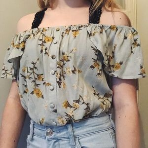 Blue with yellow and white flowers shirt